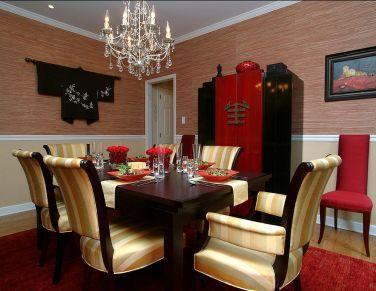 Red-and-black-dining-room-with-asian-style