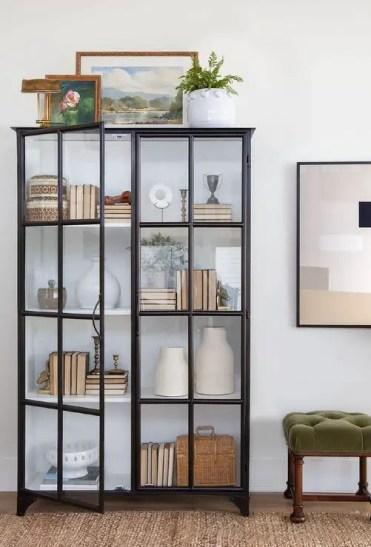 Black-glass-door-display-cabinet