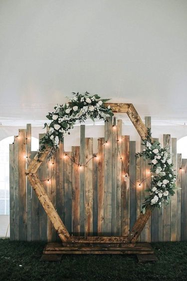 Modern-rustic-greenery-hexagon-wooden-wedding-arch