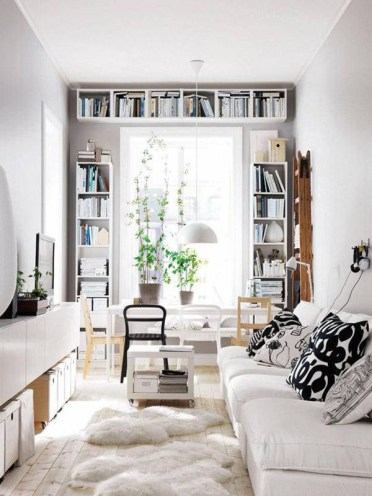 Pretty-tiny-interior-with-wall-bookshelves