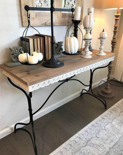 04-vintage-console-styling-white-pumpkins-on-scales-and-stands-and-vintage-books