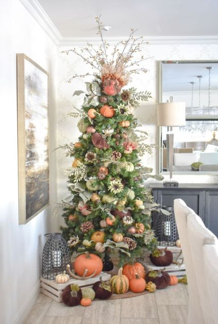 05-a-bright-and-natural-looking-thanksgiving-tree-with-various-pumpkins-pinecones-faux-flowers-and-branches