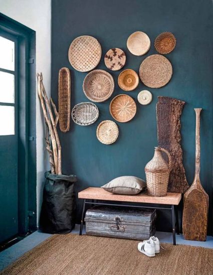 08-a-teal-wall-and-cool-baskets-that-echo-with-a-jute-rug-and-a-cork-bench