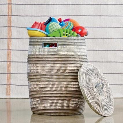 Striped-woven-hamper