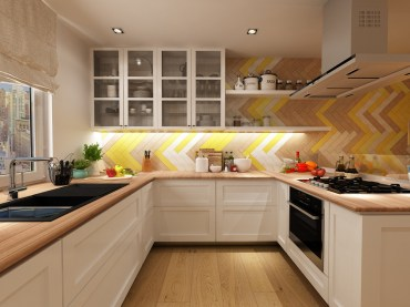 Brown-and-yellow-herringbone-kitchen-tile