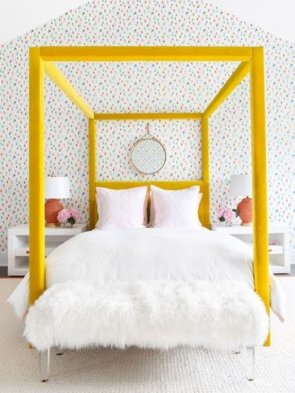 13-a-bold-yellow-velvet-upholstered-canopy-bed-is-a-colorful-statement-in-the-bedroom-that-brings-cheer