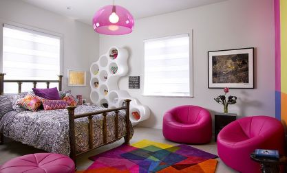 Vivacious-teen-girls-bedroom-with-multi-colored-rug-from-sonya-winner-rugs