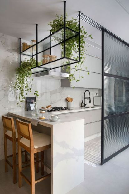 A-glass-open-shelf-hanging-over-the-bar-counter-features-climbing-plants-that-enliven-this-small-kitchen