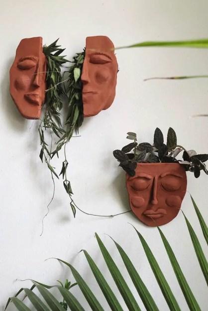 Wand-Pflanzgefäße-Gesicht-halbe-kreative-Kunst