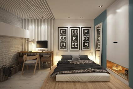 Exposed-brick-bedroom-with-triptych