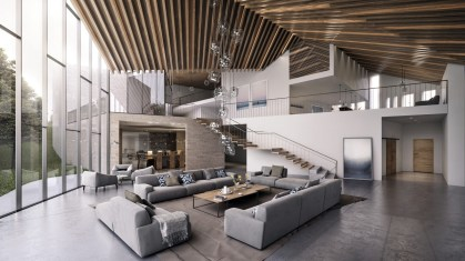 High-wooden-rafters-ceiling-windows-grey-living-rooms