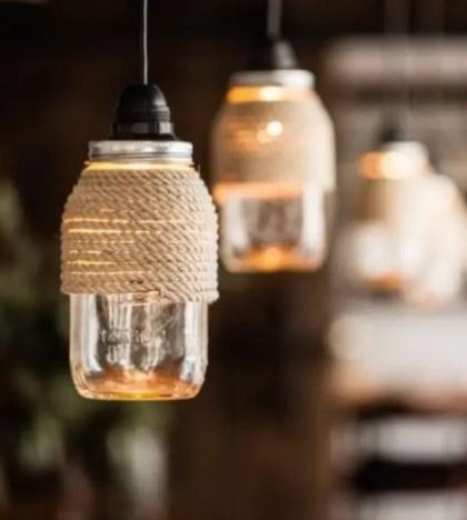 Seil-Handwerk-Ideen-Diy-Seil-umwickelt-Einmachglas-Lichter-Upcycling-Ideen-Anhänger-Lampen