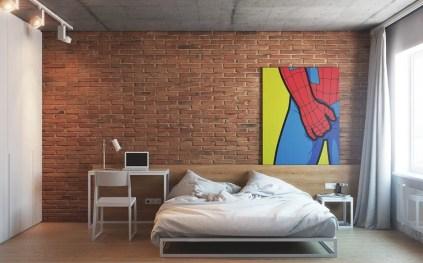 Spiderman-wall-art-exposed-brick-bedroom