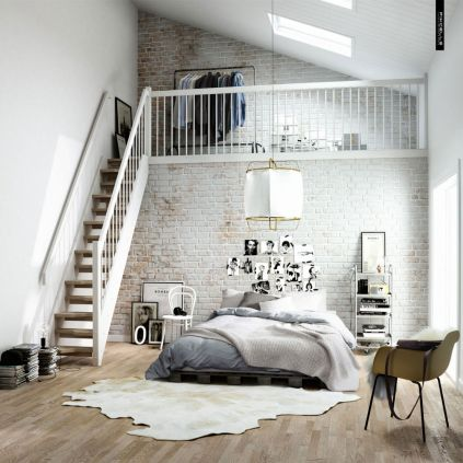 White-walls-with-high-stairs-exposed-brick-bedroom