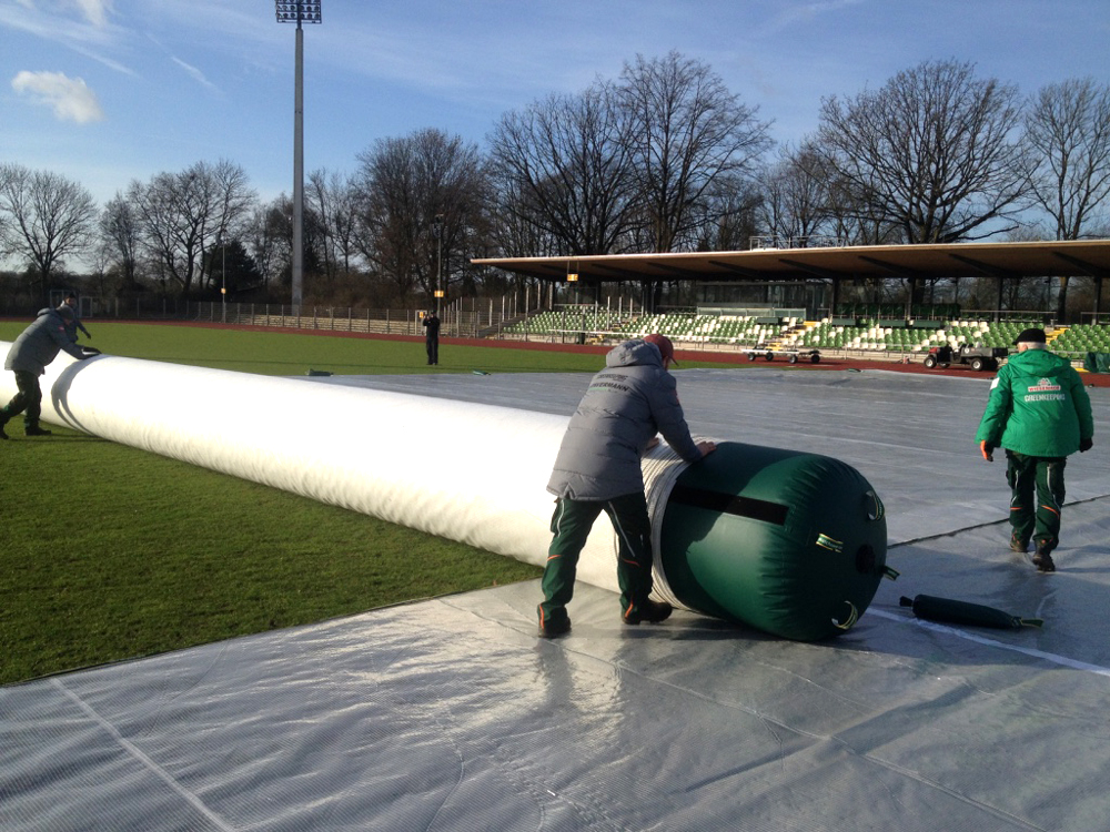 Matchsaver air roller football pitch covers being deployed at Werder Bremen in Germany