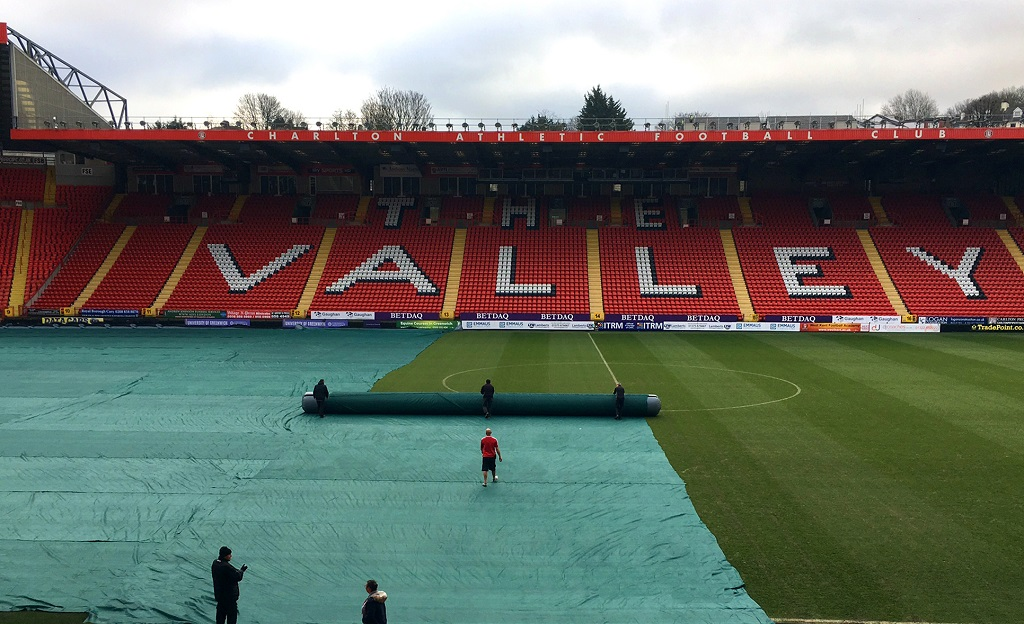 Matchsaver Air Roller Covers being deployed at Charlton Athletic FC