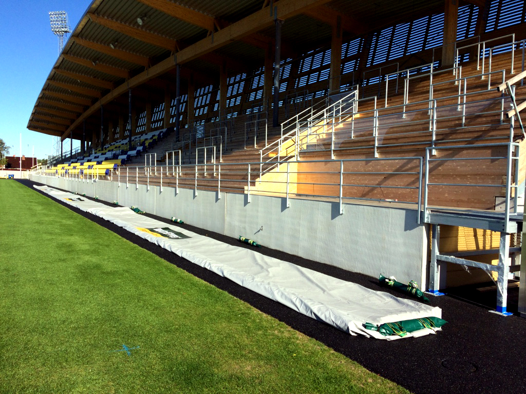 Matchsaver air roller pitch covers at Falkenberg in Sweden, stored next to the pitch for easy deployment