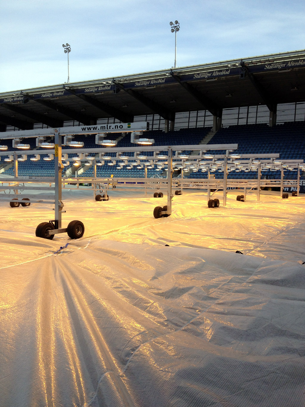 Germination lighting rigs on top of Matchsaver APP covers at Vikings FK Stavanger