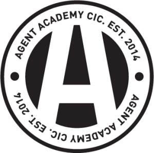 Logo for Agent Academy featuring a letter A in a circle