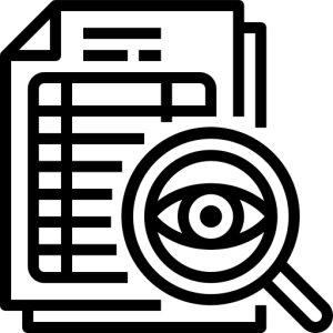 Icon of paper with a magnifying glass showing an eye in front of it
