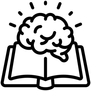 Icon of open book with brain sitting on top of it