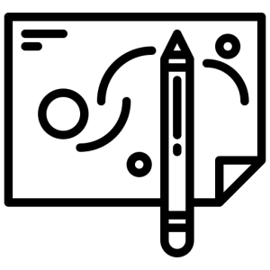 Icon of a sheet of paper with a pencil in front