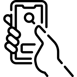 Icon of persons hand holding smartphone showing a search icon on the screen