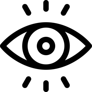 Icon of eye with 3 eyelashes above and 3 below