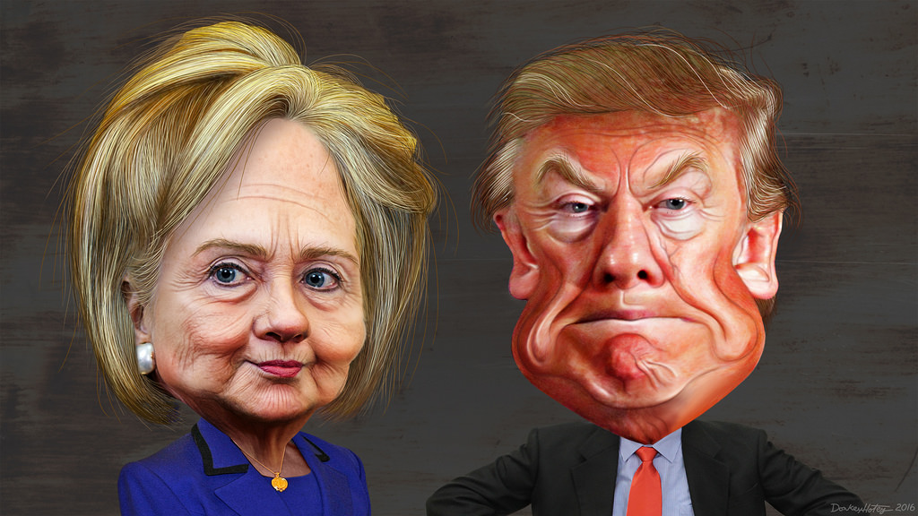 Image result for a picture of hillary and trump side by side