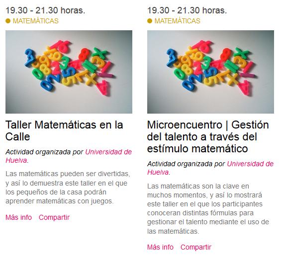 Gestión del talento a través del estímulo matemático en la Noche de los investigadores de Huelva #ERN15