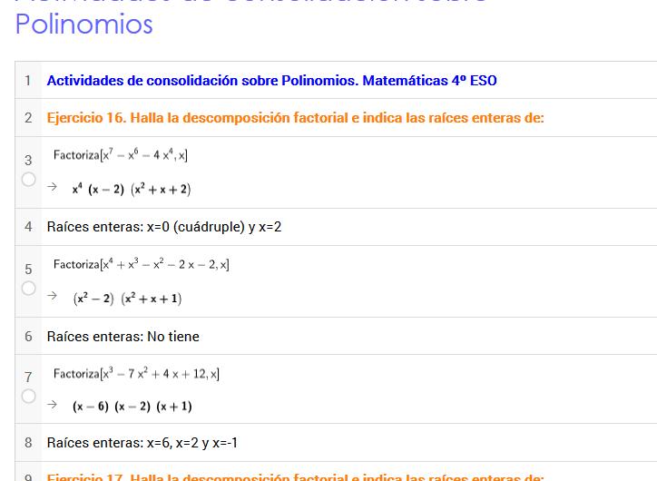 Actividades de consolidación sobre Polinomios con #Geogebra #FlippedClassroom