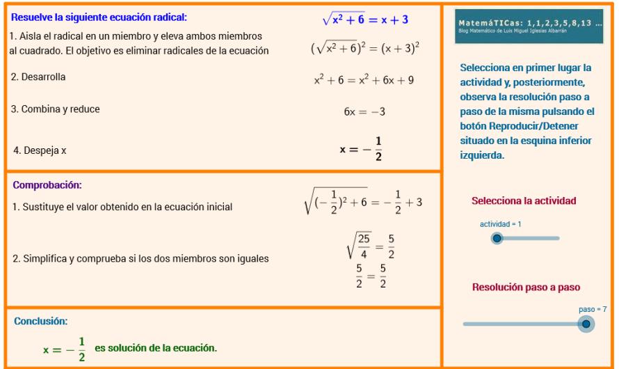 Resolución paso a paso de Ecuaciones Radicales con #Geogebra #FlippedClassroom