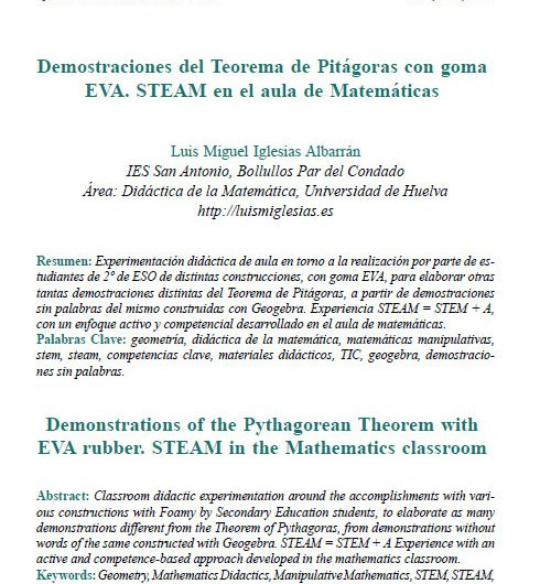 Artículo en Revista Epsilon 97 – Demostraciones del Teorema de Pitágoras con goma EVA. STEAM en el aula de Matemáticas