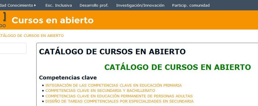 Catálogo de 75 cursos en abierto de la Consejería de Educación y Deporte de la Junta de Andalucía para la formación del profesorado