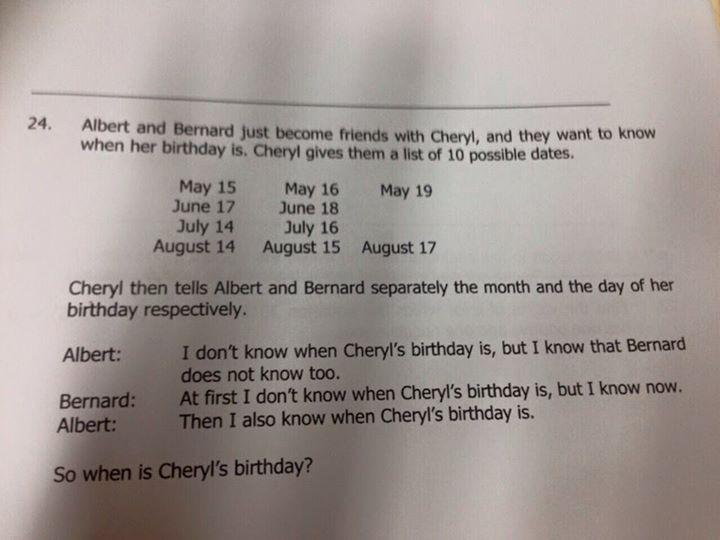 Cheryl's birthday