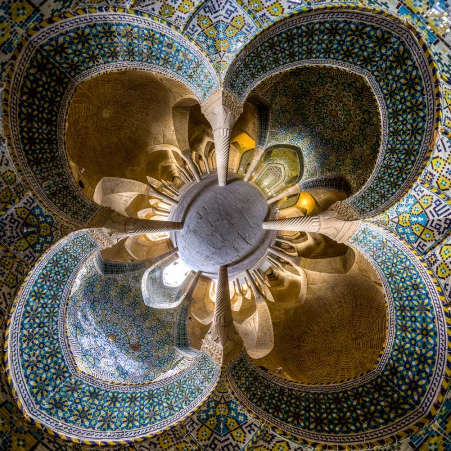 Little planet view of Vakil mosque, Shiraz