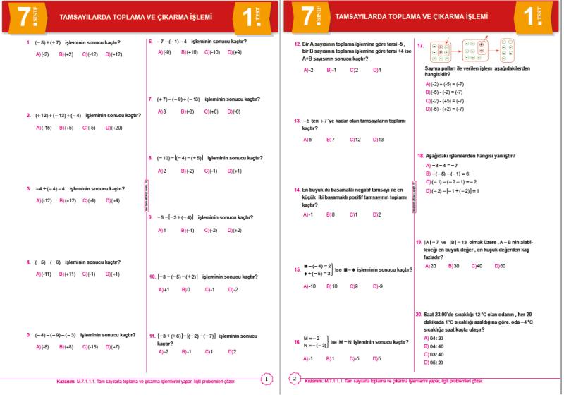 7.Sınıf Tam Sayılarla Toplama  Çıkarma Testi