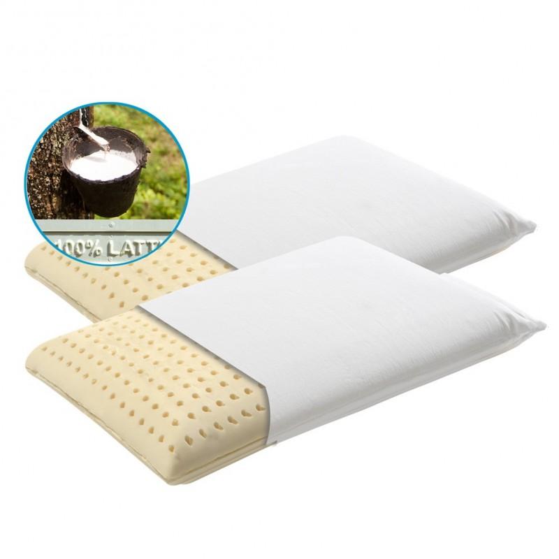 Coppia cuscini in schiuma di lattice con federa in cotone
