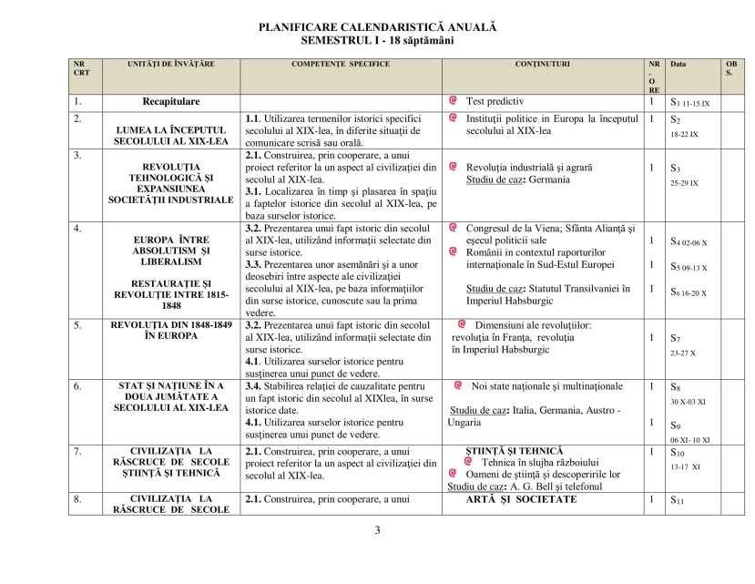Planificare calendaristică clasa a VII - a-3
