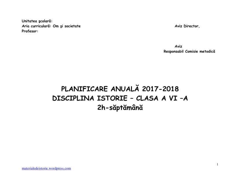 Planificare Clasa a VI a-1