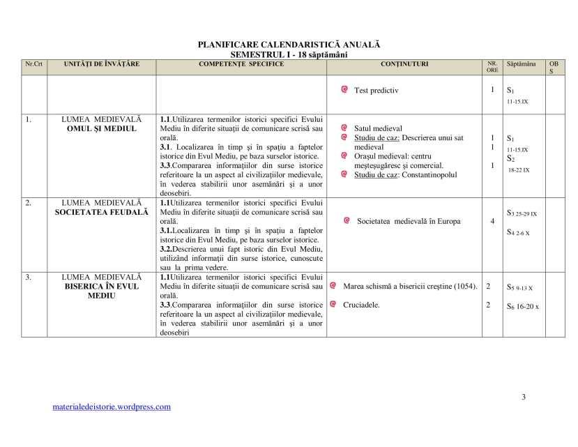 Planificare Clasa a VI a-3