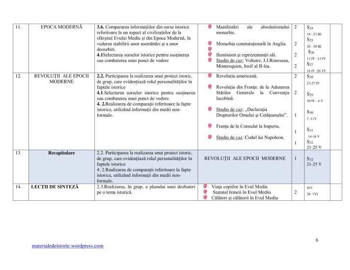 Planificare Clasa a VI a-6