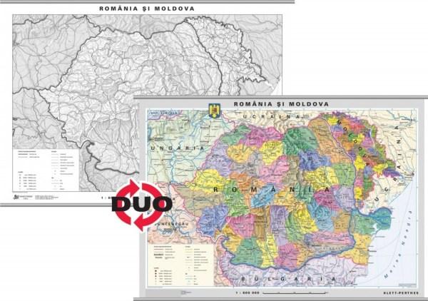 Romania - harta administrativa - pe verso harta in contur 2