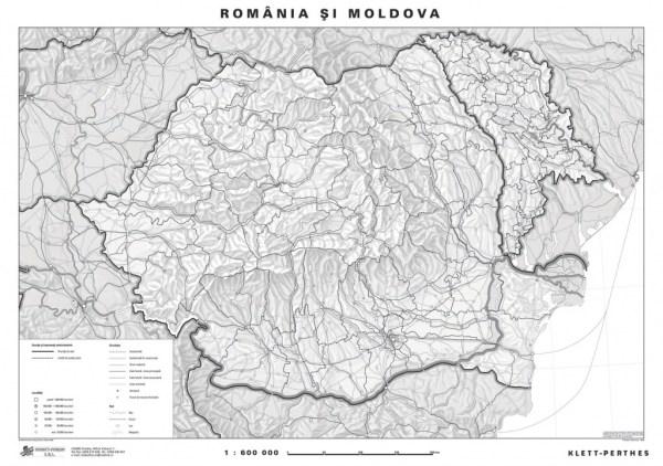 Romania - harta administrativa - pe verso harta in contur 4
