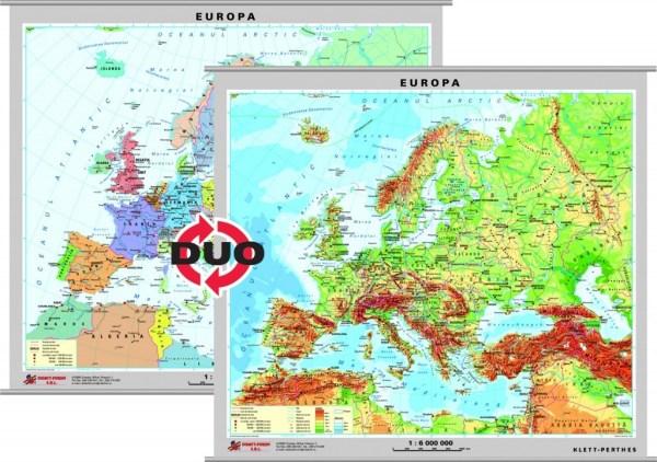 Europa - harta fizica - pe verso: harta politica a Europei 3