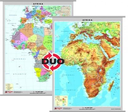 Africa - harta fizica - pe verso: harta politica a Africii