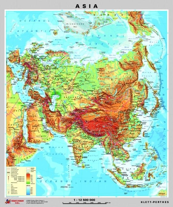 Asia - harta fizica - pe verso: harta politica a Asiei 4