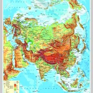 Asia - harta fizica - pe verso: harta politica a Asiei 6