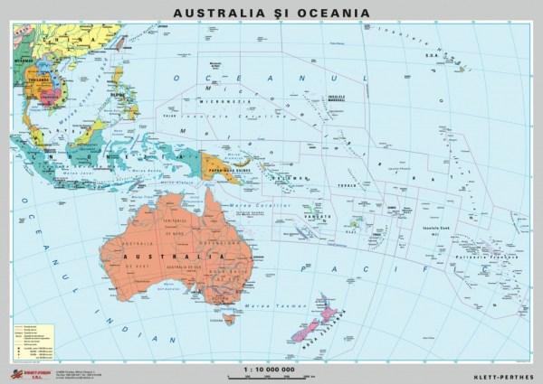 Australia - Noua Zeelanda - harta fizica - pe verso : harta politica a zonei 5