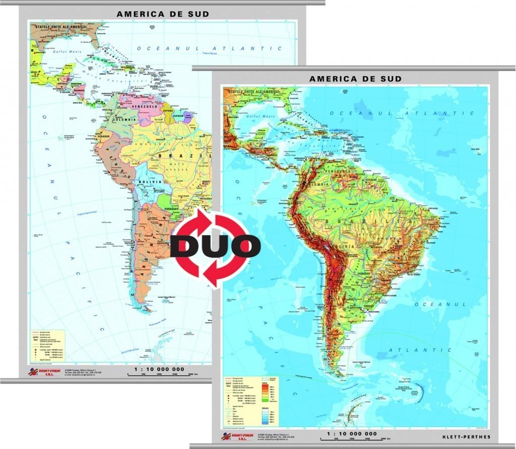 America de Sud - harta fizica - pe verso: harta politica a Americii de Sud